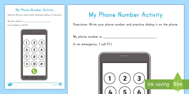 Phone Number Worksheet / Worksheet - Phone safety, phone