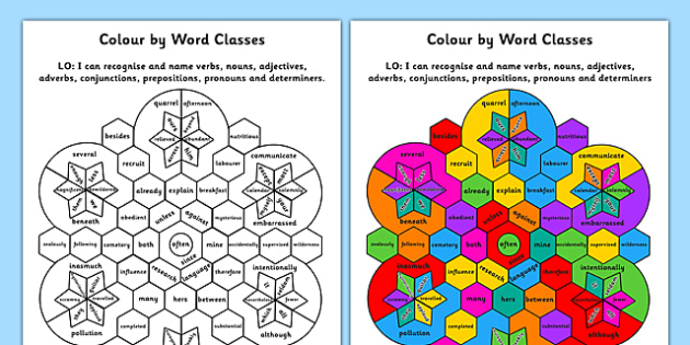 Colour by Word Class 8 Word Classes - colour, word, class, 8