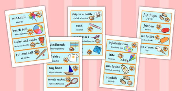 Translation Seaside Souvenir Shop Role Play Price Labels Polish