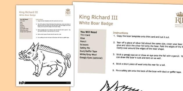 Richard III Boar Badge Worksheet - richard III, boar, badge