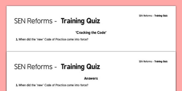 SEN Code of Practice Training Quiz -SEND, special educational needs, special needs, COP, staff CPD