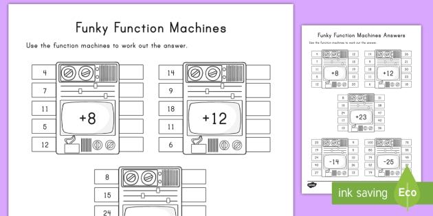Funky Function Machines Worksheet Activity Sheet Dj