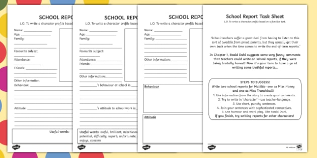 School Report Task Sheet And Differentiated Worksheets To