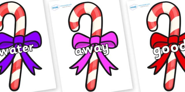 Next 200 Common Words on Candy Canes (Bows) - Next 200 Common Words on  - DfES Letters and Sounds, Letters and Sounds, Letters and sounds words, Common words, 200 common words