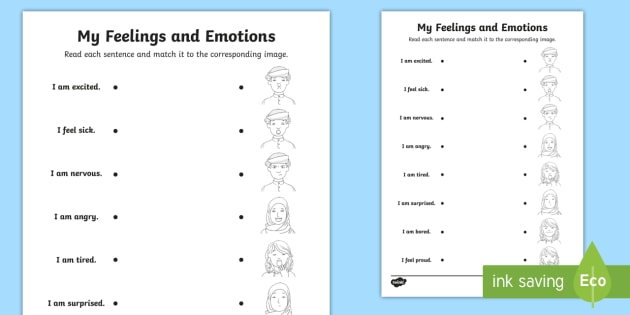 Emotions And Feelings (Middle East) Matching Worksheet / Worksheet