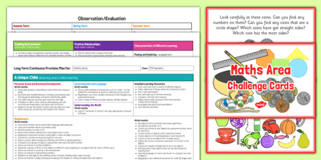 Maths Area Editable Continuous Provision Plan and Challenge Cards Pack Nursery FS1