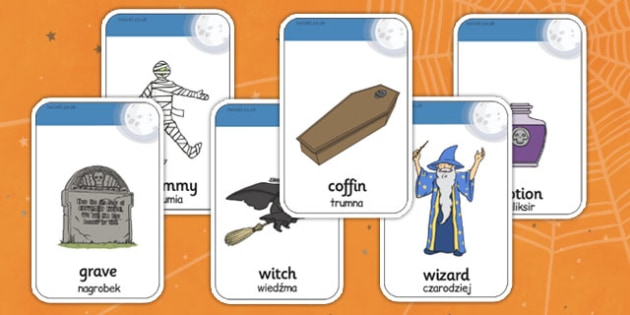 Halloween Flashcards Polish Translation - polish, halloween, hallowe'en, flashcards, activity, class