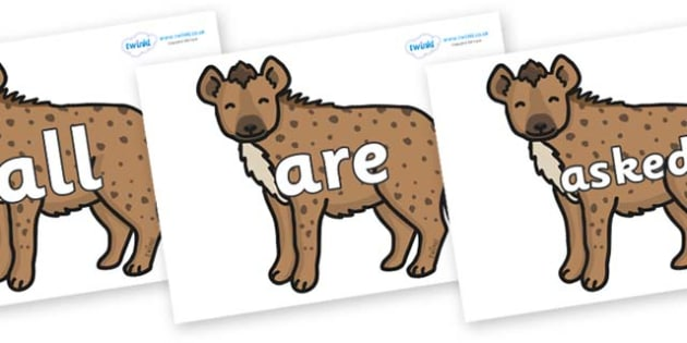 Tricky Words on Hyenas - Tricky words, DfES Letters and Sounds, Letters and sounds, display, words