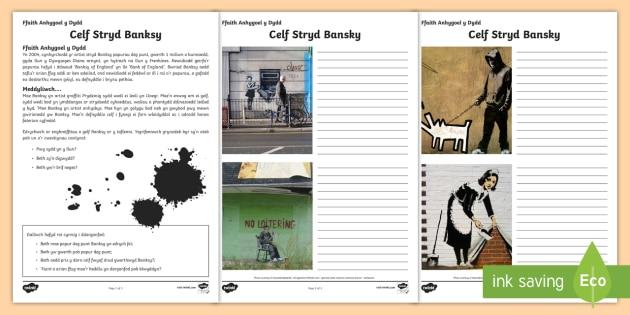 Celf yr Artist Stryd Banksy Taflenni Gweithgaredd - Cymraeg, Iaith, Celf