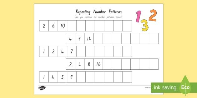 repeating pattern number worksheet activity sheet new zealand maths. Black Bedroom Furniture Sets. Home Design Ideas