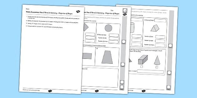 Year 2 Maths Assessment Geometry Properties of Shapes Term 3 - Maths, Assessment, Geometry, Shape