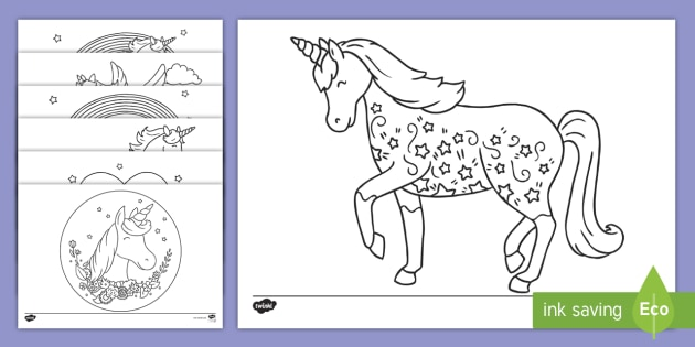 Free Unicorn Coloring Pages Coloring Sheet