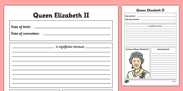 Queen Elizabeth II Writing Frames