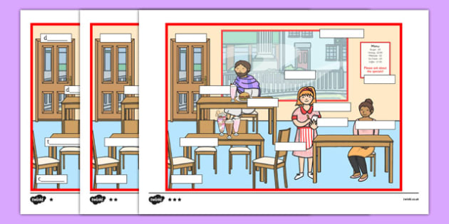 At The Cafe Differentiated Labelling Activity - matching, language development, keywords, expressive skills, first words
