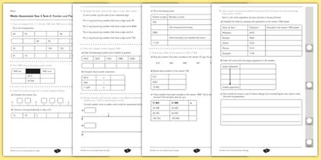 Year 4 Maths Assessment: Number and Place Value Term 2 - year 4, maths, assessment, number, place value
