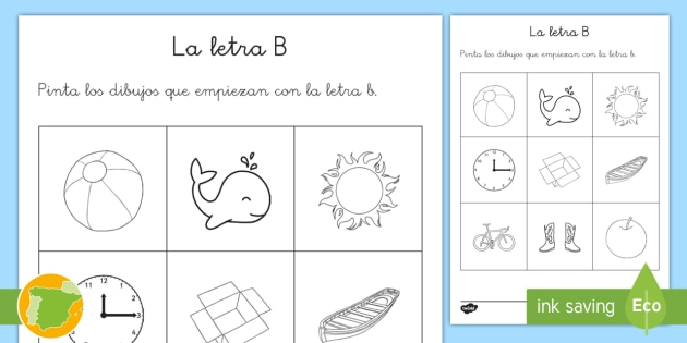 Hoja De Colorear De Vocabulario La Letra B Pintar Pinta