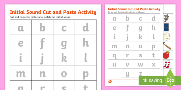 Initial Sound Match Cut And Paste Worksheet (teacher Made)