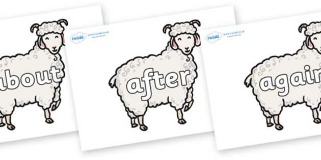 KS1 Keywords on Small Billy Goats - KS1, CLL, Communication language and literacy, Display, Key words, high frequency words, foundation stage literacy, DfES Letters and Sounds, Letters and Sounds, spelling