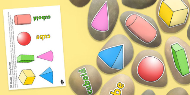 3D Shapes Story Stone Image Cut Outs - story stones, 3d shapes, cut outs