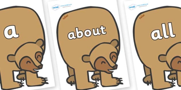100 High Frequency Words on Brown Bear to Support Teaching on Brown Bear, Brown Bear - High frequency words, hfw, DfES Letters and Sounds, Letters and Sounds, display words