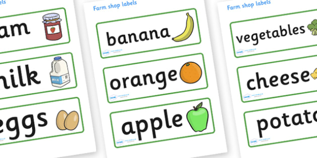 Farm Shop Labels - Farm display, label, role play, price, poster, shop, farm, pig, cow, chicken, goat, tractor, farmer, chicken, goat, sheep, hay, milk, eggs
