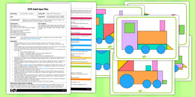 Shape Train Printing Activity EYFS Adult Input Plan and Resource Pack