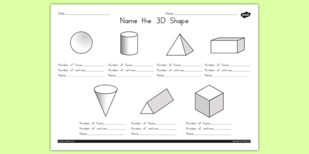 Name The 3d Shape Worksheet 1 Australia 3d Shape Names