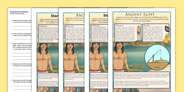 Survival in Ancient Egypt Differentiated Comprehension Activity English/Polish - Survival in Ancient Egypt Differentiated Reading Comprehension Activity - history, english, reading,