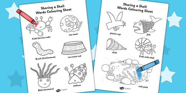 Words Colouring Sheet to Support Teaching on Sharing a Shell - colour, colour in, story