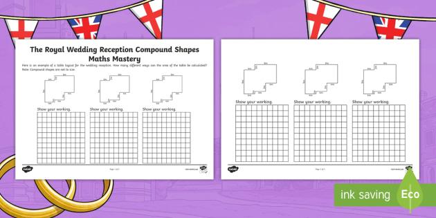 uks2 royal wedding reception compound shapes maths mastery worksheet. Black Bedroom Furniture Sets. Home Design Ideas