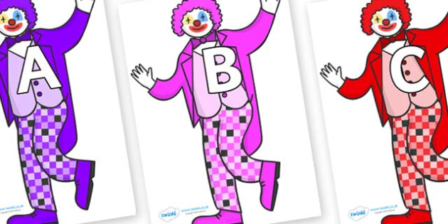A-Z Alphabet on Clowns - A-Z, A4, display, Alphabet frieze, Display letters, Letter posters, A-Z letters, Alphabet flashcards