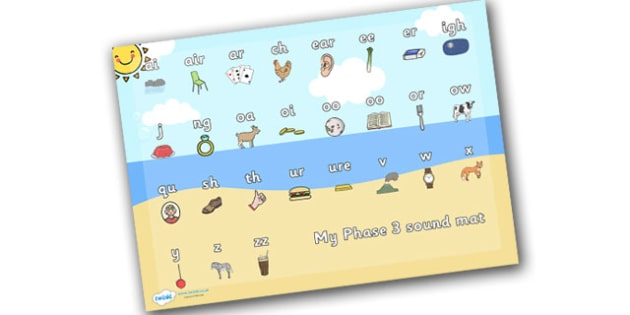 Seaside Themed Phase 3 Sound Mat - seaside, the seaside, at the beach, seaside sound mat, phase 3 seaside sound mat, beach sound mat, phonics, sounds