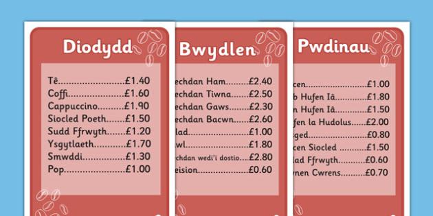 Individual Cafe Menus (Welsh Translation) - roleplay, wales