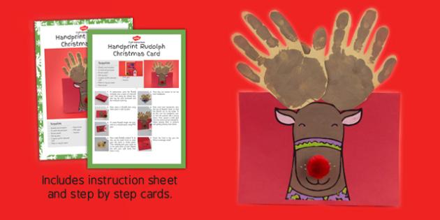 Handprint Rudolph Christmas Card Craft Instructions - rudolph, card, craft, pack