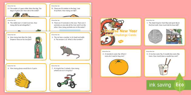Year 1 Chinese New Year Word Problem Challenge Cards - challenge