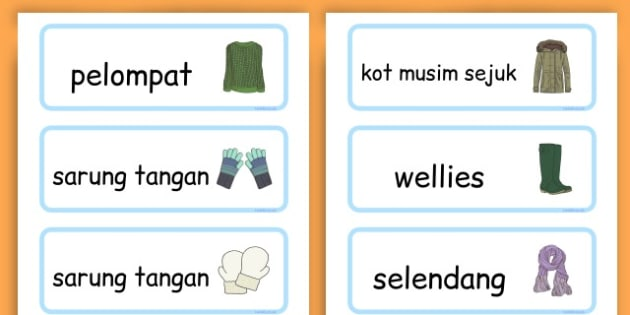Winter Clothes Word Cards - winter clothes, word cards, winter, clothes - Malay