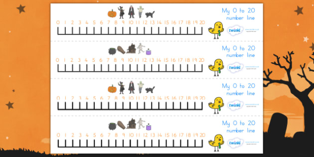 Halloween Number Line 0-20 - halloween, halloween numberline, halloween numeracy, autumn, halloween numbers, halloween counting, counting aid, 0-20
