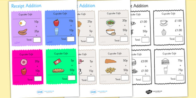 Receipt Addition Maths Activity Sheet Pack - numeracy, adding, add, worksheet