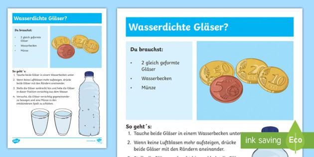 Experiment: Wasserdichte Gläser? Arbeitsblatt - Sommer