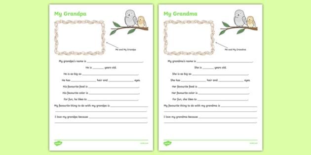 My Grandparents Activity Sheet, worksheet