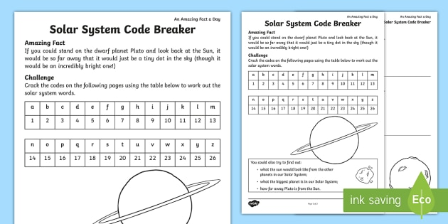 solar system code breaker worksheet activity sheet amazing. Black Bedroom Furniture Sets. Home Design Ideas