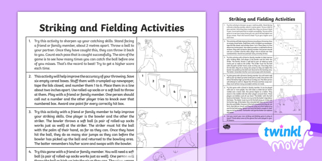Twinkl Move - Year 3 Striking and Fielding Home Learning Tasks - PE, physical education, exercise, sports, Y3, Year 3, year three, KS2, lks2, key stage2, planning, p