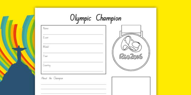 The Olympics Champion Fact File Activity Sheet - nz, new zealand, the olympics, rio olympics, rio 2016, 2016 olympics, fact file, champion, activity, worksheet