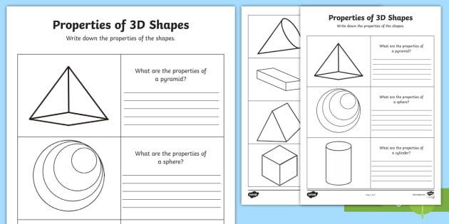 Editable Year 2 Properties of 3D Shapes Worksheets