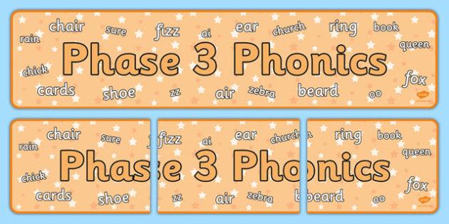 Phase 3 Phonics Display Banner - phase 3, phonics, display banner, display, banner