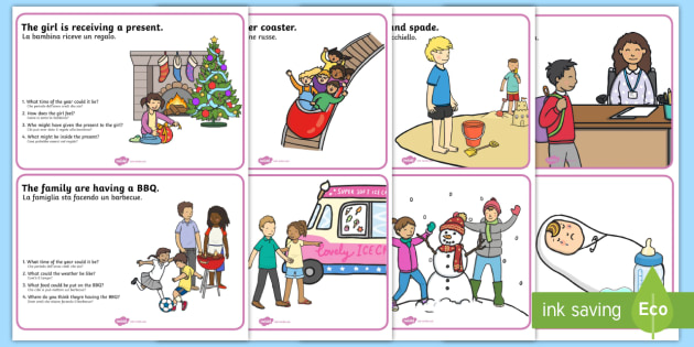 Inference Picture and Questions Cards English/Italian - Inference Picture And Question Cards - inference, SEN, games, inferential question, inferential ques