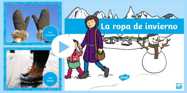 Winter Clothes Photo Display PowerPoint - Spanish - Winter, KS2, clothes, display, powerpoint, photo,Spanish