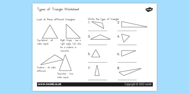 Types of Triangle Worksheet - triangle, types, worksheet