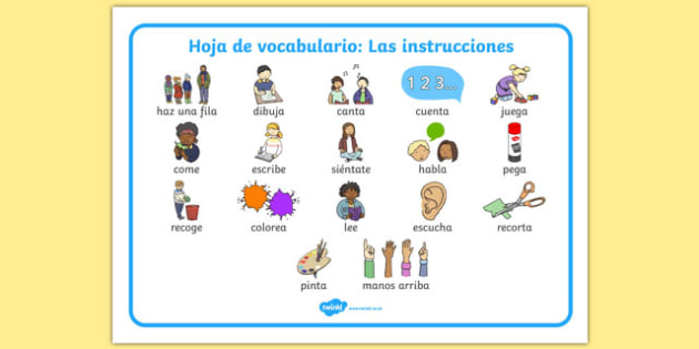 Hoja de vocabulario: Las instrucciones New EAL Starter Instructions Word Mat Spanish - spanish, literacy, words, mats