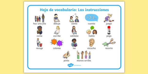 Hoja De Vocabulario Las Instrucciones New Eal Starter